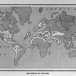 Mapa del imperio atlante. De Atlantis: The Antediluvian World, de Ignatius Donnelly, 1882