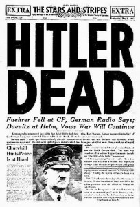 Portada del diario militar norteamericano The Stars and Stripes, con la noticia de la muerte de Hitler, 3 de mayo de 1945